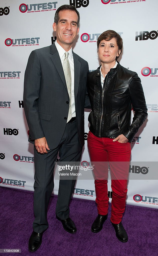 Eric Garcetti and Kimberly Pierce attends the 2013 Outfest Opening Night Gala Of 'C.O.G.' - Red Carpet at Orpheum Theatre on July 11, 2013 in Los Angeles, California.