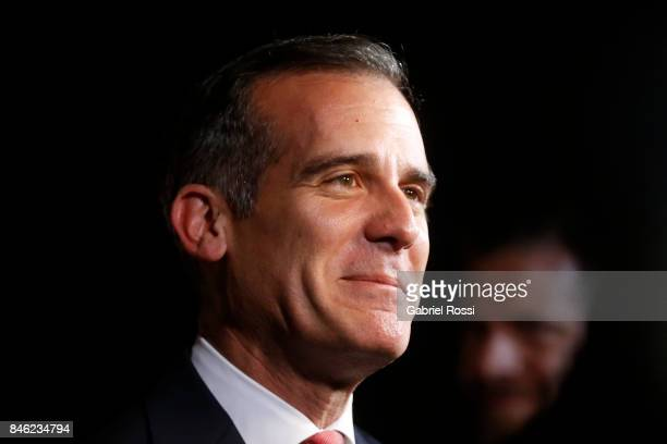 Eric Garcetti Mayor of Los Angeles talks to the press during the red carpet prior to the Opening Ceremony of the IOC Lima 2017 Session at Teatro...