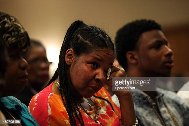 Eric Garner's widow Esaw Garner attends an interfaith prayer service at Mount Sinai United Christian Church to mark the oneyear anniversary of the...