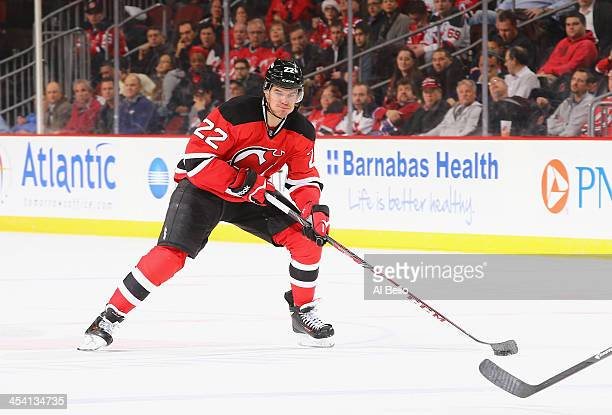 Eric Gelinas of the New Jersey Devils in action against the Montreal Canadiens during their game at Prudential Center on December 4 2013 in Newark...