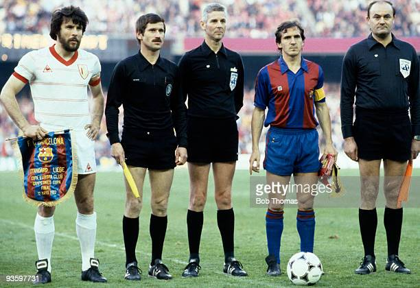 Eric Gerets Standard Liege captain and Jose Vicente Sanchez Barcelona's captain line up with match officials prior to the European Cup Winners Cup...