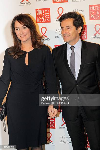 Eric Ghebali and his wife Daniela Lumbroso attend the Sidaction Gala Dinner 2013 at Pavillon d'Armenonville on January 24 2013 in Paris France