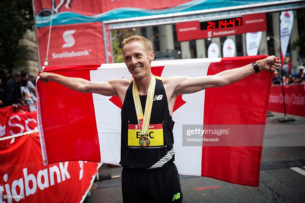 Eric Gillis was the first Canadian man to cross the finish line at the Scotiabank Toronto Waterfront Marathon, in Toronto.