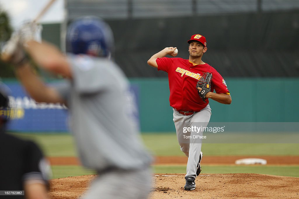 Eric Gonzalez #26 of Team Spain pitches against Team Israel during game 6 of the Qualifying Round of the World Baseball Classic at Roger Dean Stadium on September 23, 2012 in Jupiter, Florida.