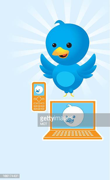 Eric Goodwin color illustration of blue bird twittering away on a celephone and laptop computer can be used with stories about Twitter