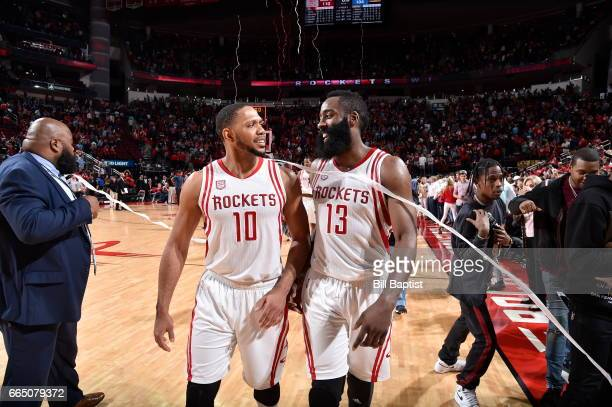 Eric Gordon and James Harden share a moment after the game against the Denver Nuggets on April 5 2017 at the Toyota Center in Houston Texas NOTE TO...