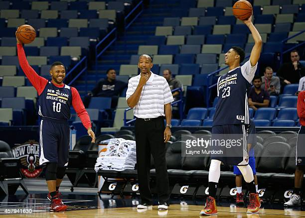 Eric Gordon and teammate Anthony Davis entertain the crowd along with head coach Monty Williams of the New Orleans Pelicans during an open practice...