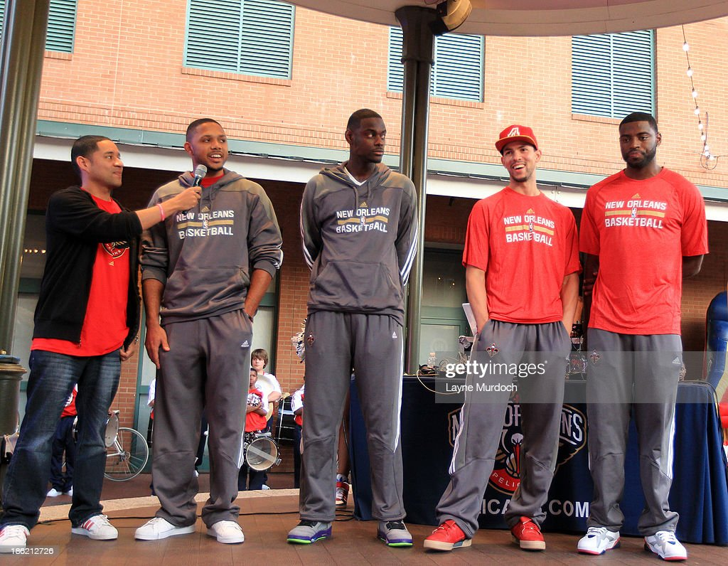 Eric Gordon, Anthony Morrow, Austin Rivers and Tyreke Evans of the New Orleans Pelicans participate in a Pep Rally with fans on October 28, 2013 at the Manning's Restaurant in New Orleans, Louisiana.