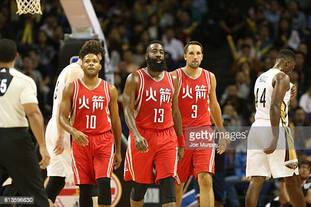 Eric Gordon James Harden and Ryan Anderson of the Houston Rockets takes in the game against the New Orleans Pelicans as part of the 2016 Global Games...