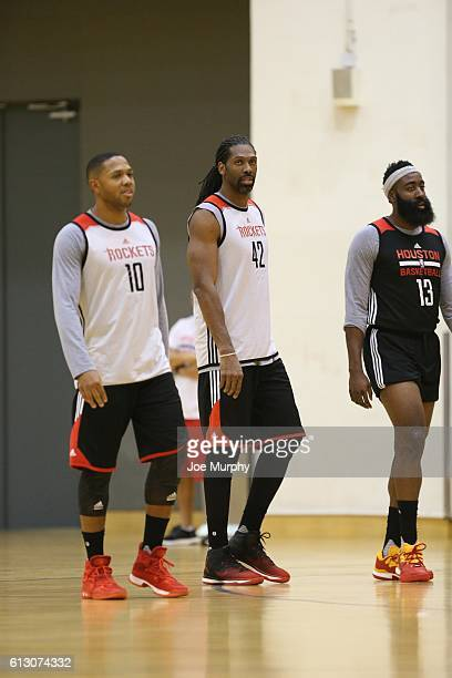 Eric Gordon Nene and James Harden of the Houston Rockets during practice as part of the 2016 Global Games China at Oriental Sports Center on October...