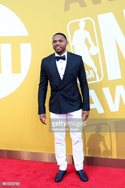 Eric Gordon of the Houston Rockets arrives at the red carpet at the NBA Awards Show on June 26 2017 at Basketball City at Pier 36 in New York City...