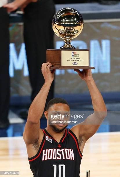 Eric Gordon of the Houston Rockets celebrates after winning the 2017 JBL ThreePoint Contest at Smoothie King Center on February 18 2017 in New...