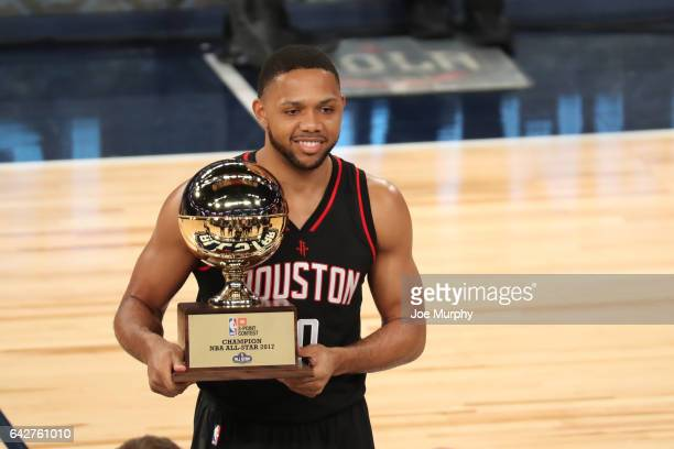 Eric Gordon of the Houston Rockets celebrates after winning the JBL ThreePoint Contest during State Farm AllStar Saturday Night as part of the 2017...