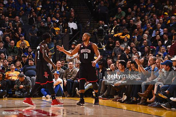 Eric Gordon of the Houston Rockets celebrates during a game against the Golden State Warriors on December 1 2016 at ORACLE Arena in Oakland...