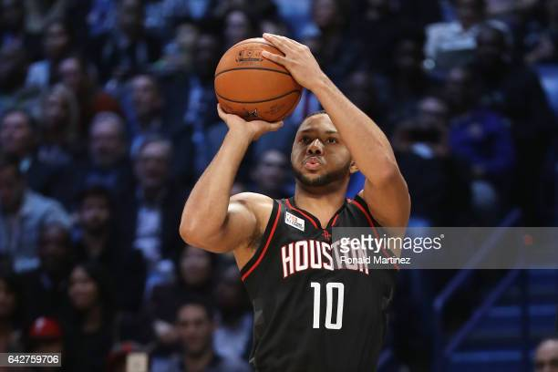 Eric Gordon of the Houston Rockets competes in the 2017 JBL ThreePoint Contest at Smoothie King Center on February 18 2017 in New Orleans Louisiana...