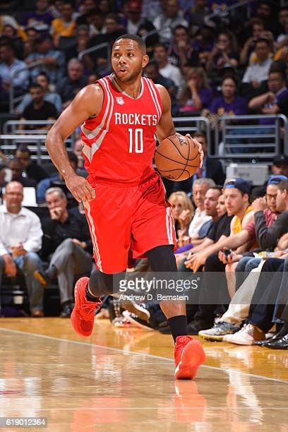Eric Gordon of the Houston Rockets dribbles the ball up court against the Los Angeles Lakers on October 26 2016 at STAPLES Center in Los Angeles...