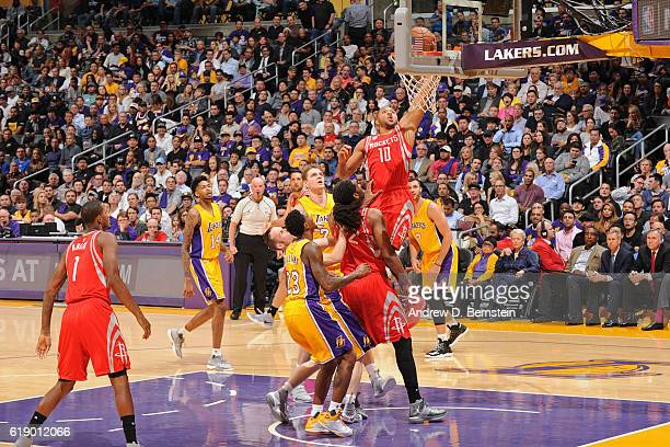 Eric Gordon of the Houston Rockets drives to the basket against the Los Angeles Lakers on October 26 2016 at STAPLES Center in Los Angeles California...