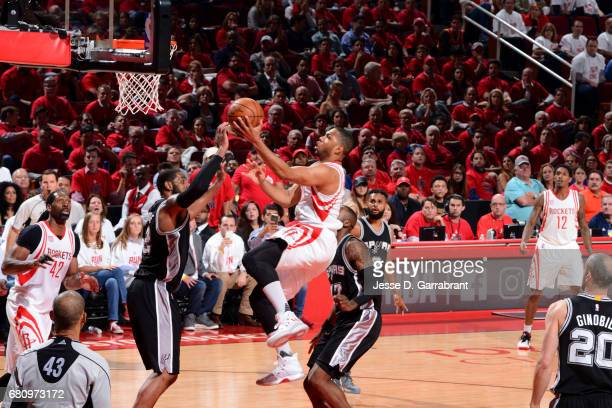 Eric Gordon of the Houston Rockets drives to the basket against the San Antonio Spurs in Game Three of the Western Conference Semifinals of the 2017...