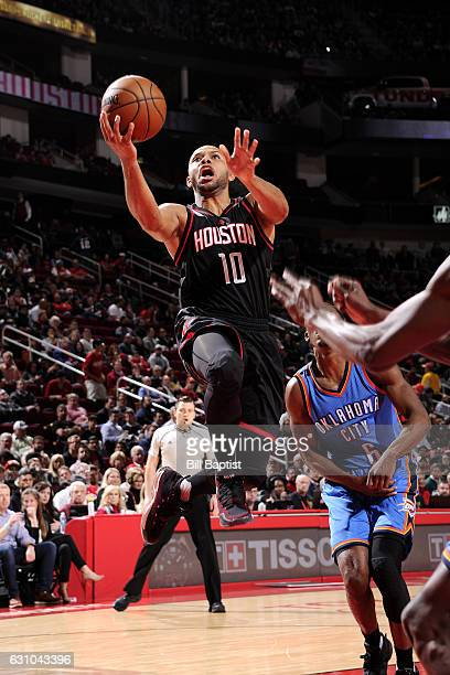 Eric Gordon of the Houston Rockets goes for the lay up during the game against the Oklahoma City Thunder on January 5 2017 at the Toyota Center in...