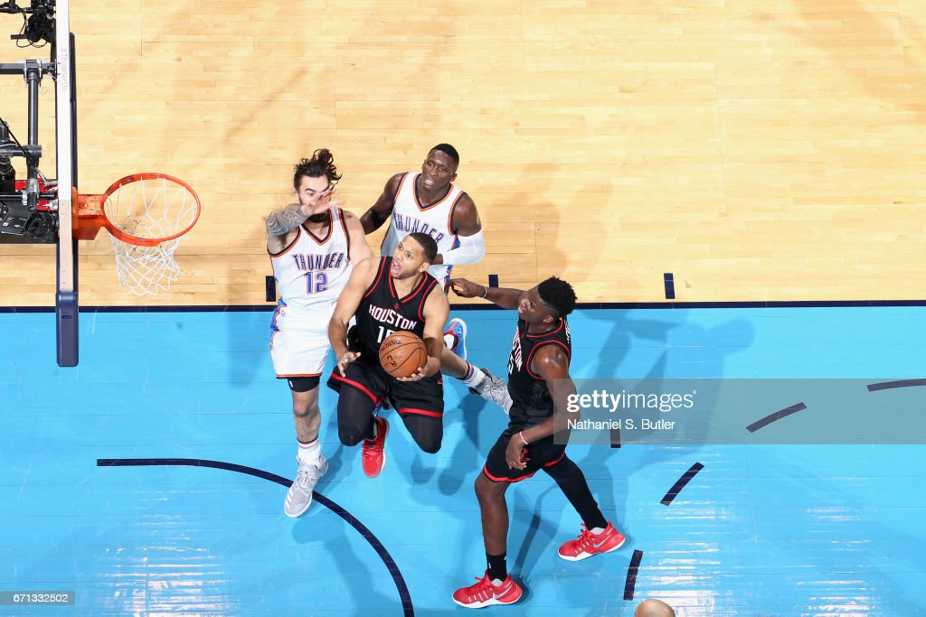 Eric Gordon #10 of the Houston Rockets goes to the basket against the Oklahoma City Thunder during Game Three of the Western Conference Quarterfinals of the 2017 NBA Playoffs on April 21, 2017 at Chesapeake Energy Arena in Oklahoma City, Oklahoma.