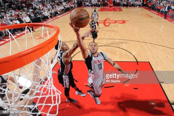 Eric Gordon of the Houston Rockets goes up for a lay up against the San Antonio Spurs in Game Four of the Western Conference Semifinals of the 2017...