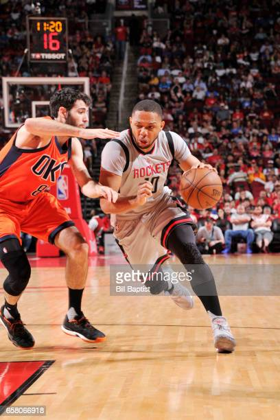 Eric Gordon of the Houston Rockets handles the ball against the Oklahoma City Thunder during the game on March 26 2017 at the Toyota Center in...