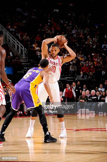 Eric Gordon of the Houston Rockets handles the ball against the Los Angeles Lakers on December 7 2016 at the Toyota Center in Houston Texas NOTE TO...
