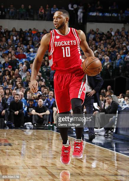 Eric Gordon of the Houston Rockets handles the ball against the Dallas Mavericks on December 27 2016 at the American Airlines Center in Dallas Texas...
