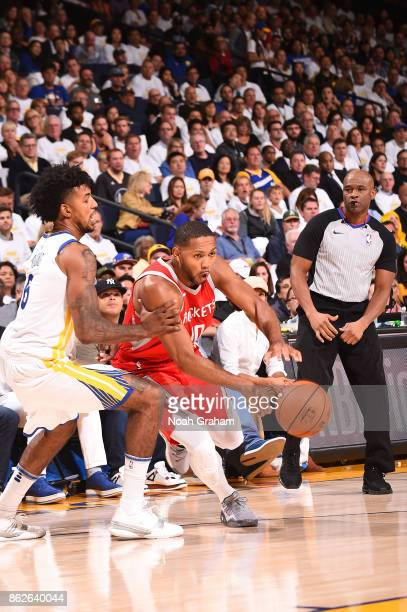 Eric Gordon of the Houston Rockets handles the ball against the Golden State Warriors on October 17 2017 at ORACLE Arena in Oakland California NOTE...