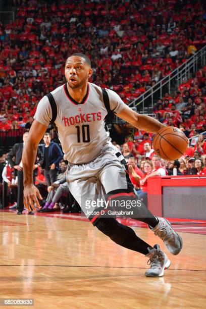 Eric Gordon of the Houston Rockets handles the ball during the game against the San Antonio Spurs during Game Six of the Western Conference...