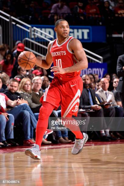 Eric Gordon of the Houston Rockets handles the ball during the game against the Memphis Grizzlies on November 11 2017 at the Toyota Center in Houston...