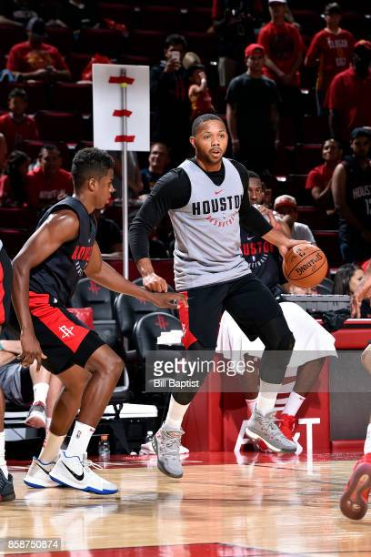 Eric Gordon of the Houston Rockets handles the ball during the team's annual Fan Fest event on October 7 2017 at the Toyota Center in Houston Texas...