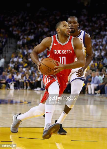 Eric Gordon of the Houston Rockets in action against the Golden State Warriors at ORACLE Arena on October 17 2017 in Oakland California NOTE TO USER...