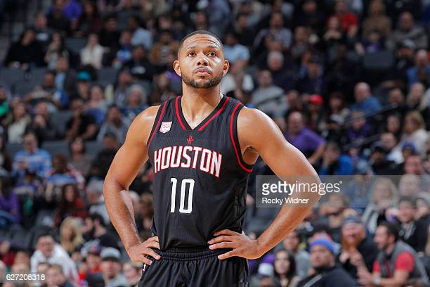 Eric Gordon of the Houston Rockets looks on during the game against the Sacramento Kings on November 25 2016 at Golden 1 Center in Sacramento...
