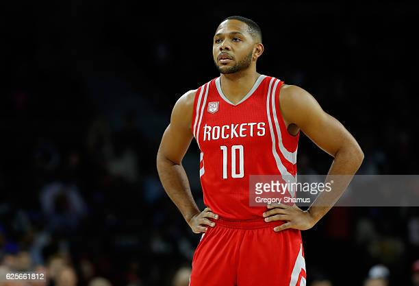 Eric Gordon of the Houston Rockets looks on while playing the Detroit Pistons at the Palace of Auburn Hills on November 21 2016 in Auburn Hills...
