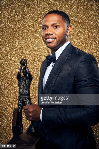 Eric Gordon of the Houston Rockets poses for a portrait after winning the NBA 6th Man of the Year Award at the NBA Awards Show on June 26 2017 at...