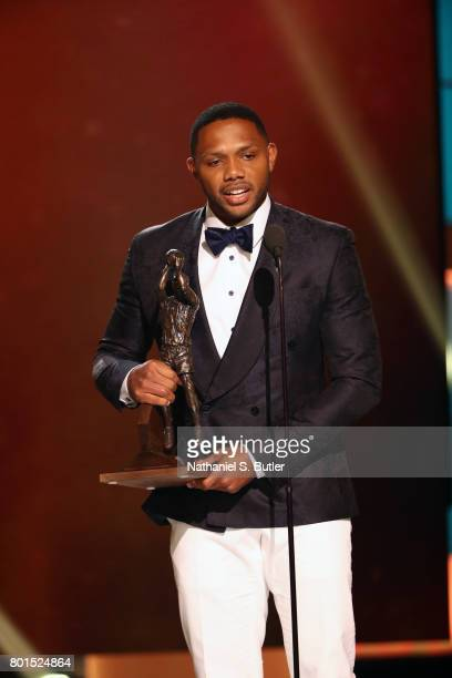 Eric Gordon of the Houston Rockets receives the Kia NBA Sixth Man Award at the NBA Awards Show on June 26 2017 at Basketball City at Pier 36 in New...