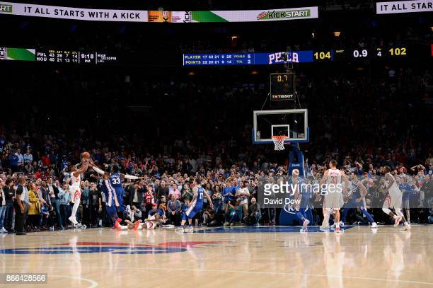 Eric Gordon of the Houston Rockets scores the game winning 3pointer against the Philadelphia 76ers on October 25 2017 at the Wells Fargo Center in...