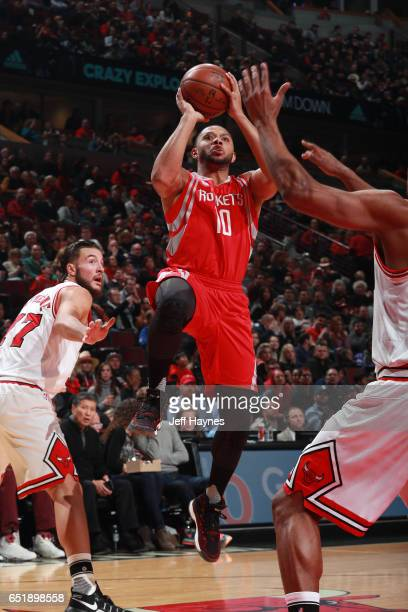 Eric Gordon of the Houston Rockets shoots the ball against the Chicago Bulls on March 10 2017 at the United Center in Chicago Illinois NOTE TO USER...