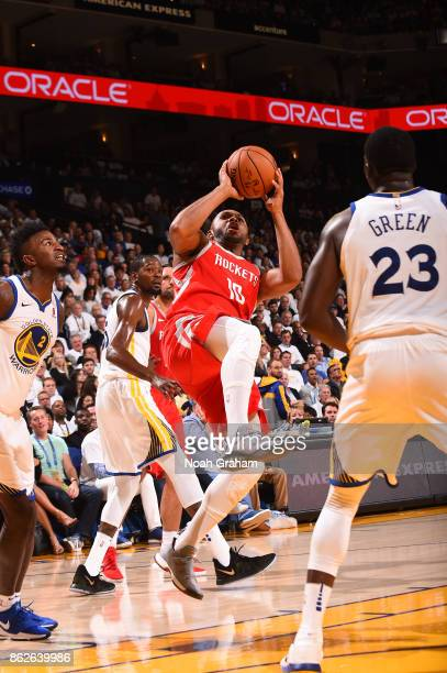 Eric Gordon of the Houston Rockets shoots the ball against the Golden State Warriors on October 17 2017 at ORACLE Arena in Oakland California NOTE TO...