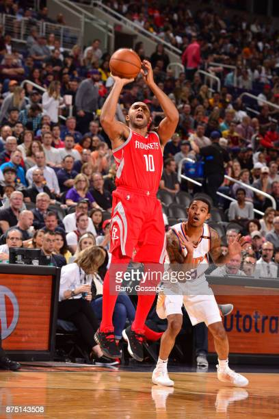 Eric Gordon of the Houston Rockets shoots the ball against Tyler Ulis of the Phoenix Suns on November 16 2017 at Talking Stick Resort Arena in...