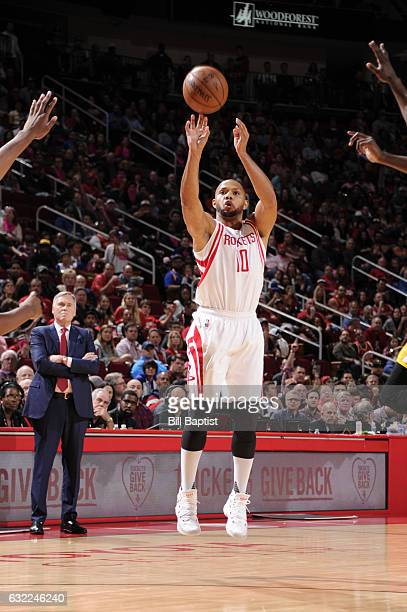 Eric Gordon of the Houston Rockets shoots the ball during a game against the Golden State Warriors on January 20 2017 at the Toyota Center in Houston...