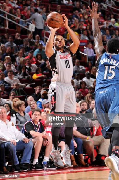 Eric Gordon of the Houston Rockets shoots the ball during a game against the Minnesota Timberwolves on February 25 2017 at the Toyota Center in...