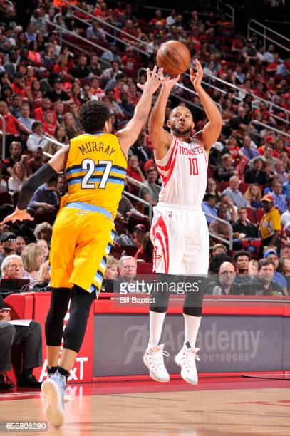 Eric Gordon of the Houston Rockets shoots the ball during a game against the Denver Nuggets on March 20 2017 at the Toyota Center in Houston Texas...