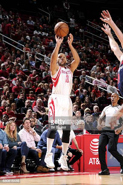 Eric Gordon of the Houston Rockets shoots the ball during the game against the Washington Wizards on January 2 2017 at the Toyota Center in Houston...