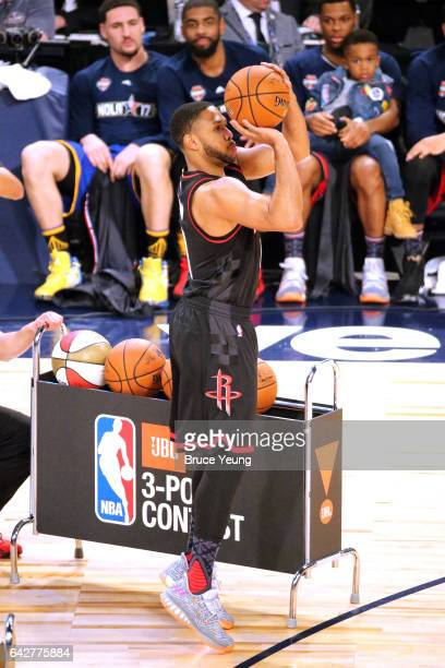 Eric Gordon of the Houston Rockets shoots the ball during the JBL ThreePoint Contest during State Farm AllStar Saturday Night as part of the 2017 NBA...