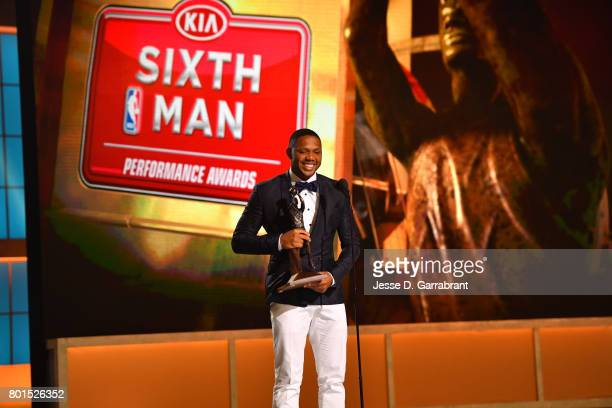 Eric Gordon of the Houston Rockets wins the Sixth Man of the year award during the 2017 NBA Awards Show on June 26 2017 at Basketball City in New...