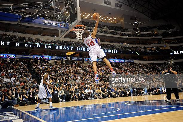 Eric Gordon of the Los Angeles Clippers dunks during The Sprite Slam DunkIn as part of NBA AllStar Friday at the American Airlines Center on February...