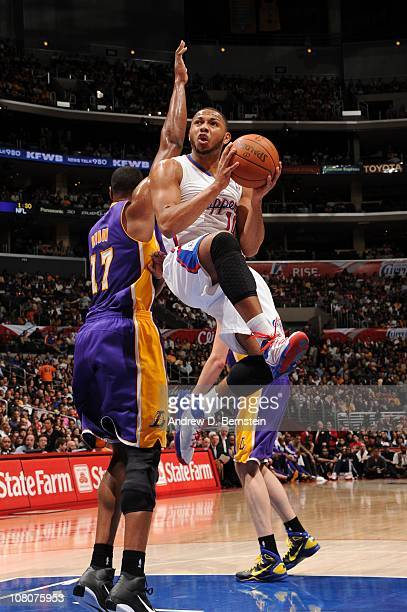 Eric Gordon of the Los Angeles Clippers looks to make a play during a game against the Los Angeles Lakers at Staples Center on January 16 2011 in Los...
