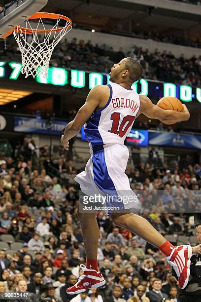 Eric Gordon of the Los Angeles Clippers shoots during the slam dunk contest held at halftime during the TMobile Rookie Challenge Youth Jam part of...